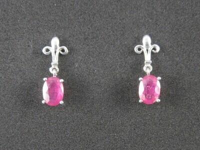 Elegant Vintage Sterling Ruby Earrings