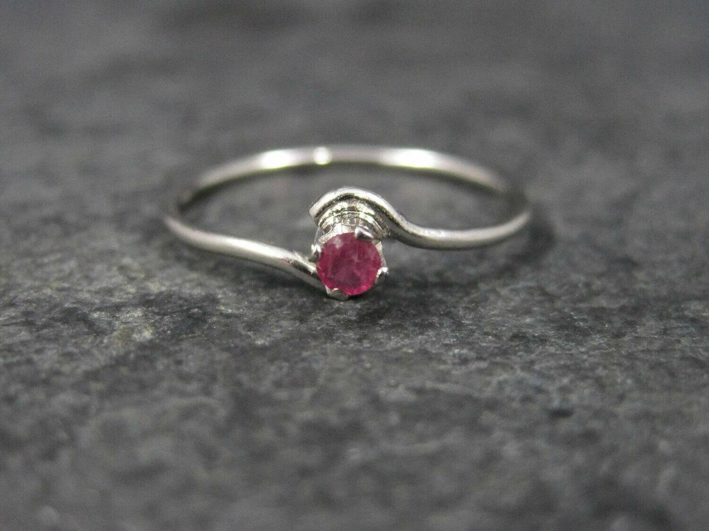 Dainty Sterling Minimalist Ruby Ring Size 5.25