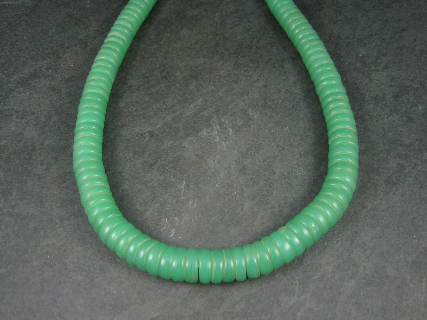 Antique African Green Glass Trade Bead Necklace