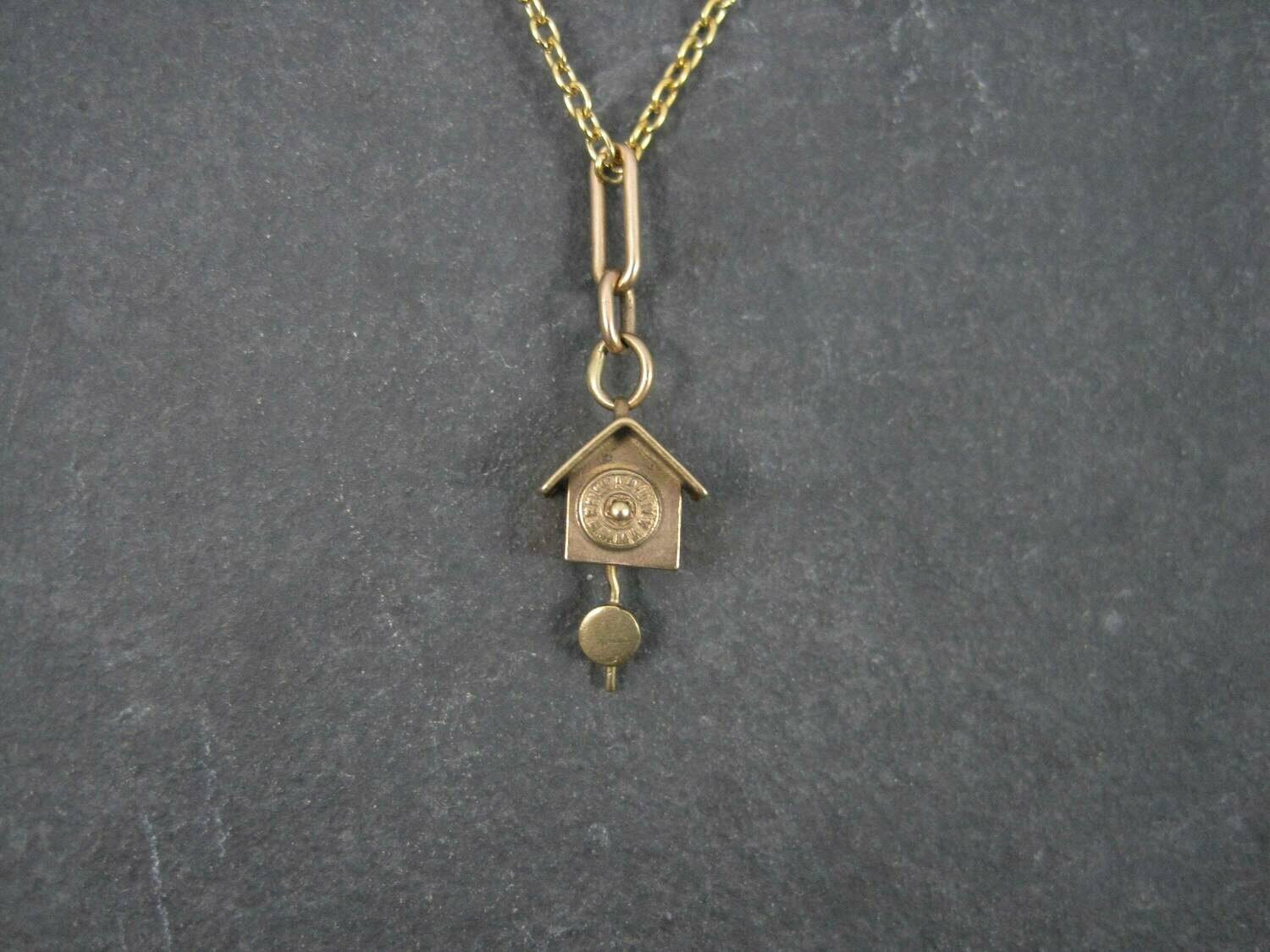 Antique Movable 10K Clock Pendant
