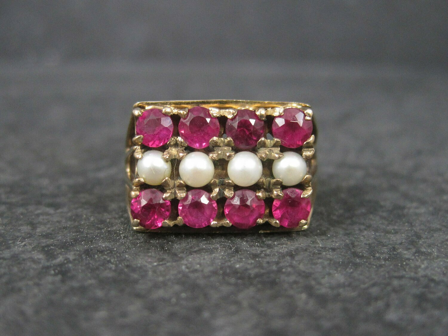 Antique 10K Ruby and Pearl Ring Size 6