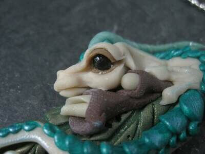Large Polymer Clay Dragon Fairy Pendant