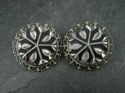 1950s Mexican Sterling Intaglio Clip On Earrings