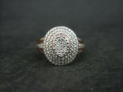90s Vermeil Sterling Diamond Ring Size 7