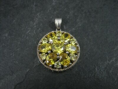 90s Vintage Sterling Yellow Quartz Cluster Pendant