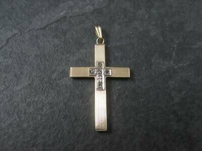 Antique 10K Diamond Cross Pendant