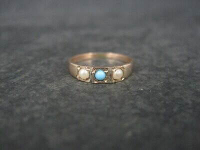 Antique 10K Turquoise Pearl Baby Ring Size 2