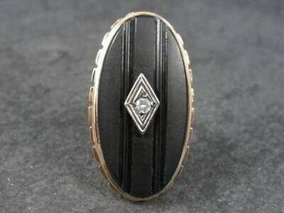 Antique 12K Carved Onyx Diamond Ring Size 5
