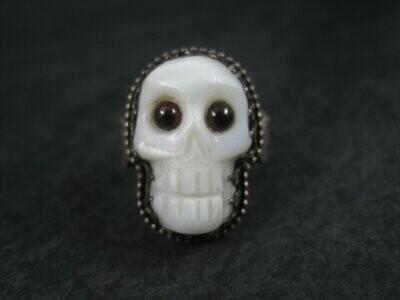 Carved Mother of Pearl Garnet Skull Ring Size 9.5