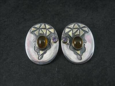 Large Vintage Sterling Amber Amethyst Earrings Michou