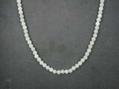 Antique Chinese Export Mutton Fat White Jade Necklace 25 Inches
