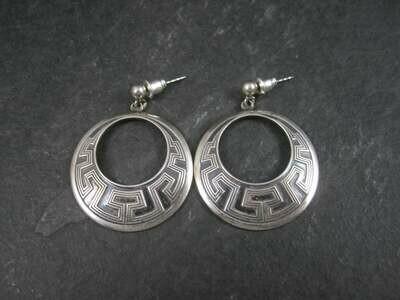 Vintage Sterling Tribal Greek Key Earrings