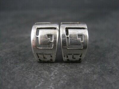 Vintage Sterling Greek Key Half Hoop Earrings