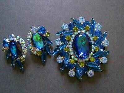 Juliana Bermuda Blue Brooch Earrings Set