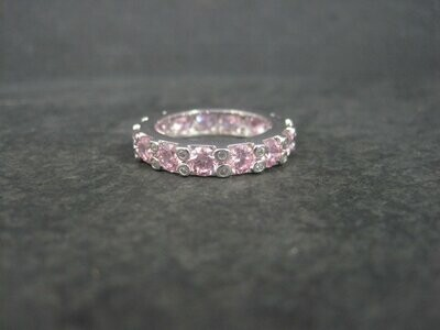 Sterling Pink Ice Cubic Zirconia Band Ring Size 8