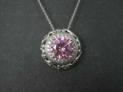 Vintage 90s Pink Ice Pendant Necklace Ornate Sterling