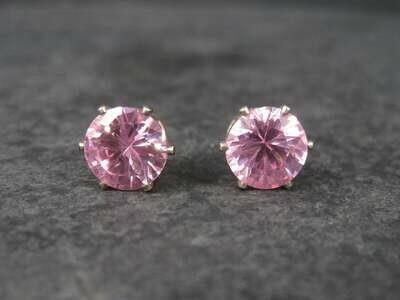 October Birthstone Pink Ice Sterling Stud Earrings 10mm