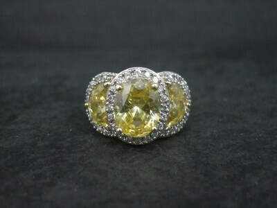 Designer Vermeil Sterling Yellow Crystal Ring Size 8