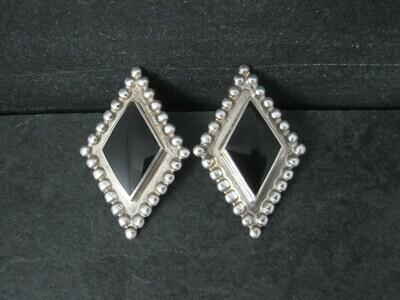 Large Vintage Sterling Onyx Earrings