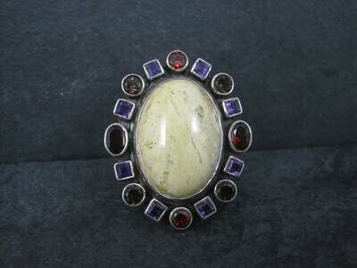 Huge Nicky Butler Yellow Jasper Garnet Amethyst Ring Size 8
