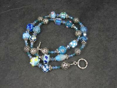 Boho Sterling Blue Lampwork Bead Necklace
