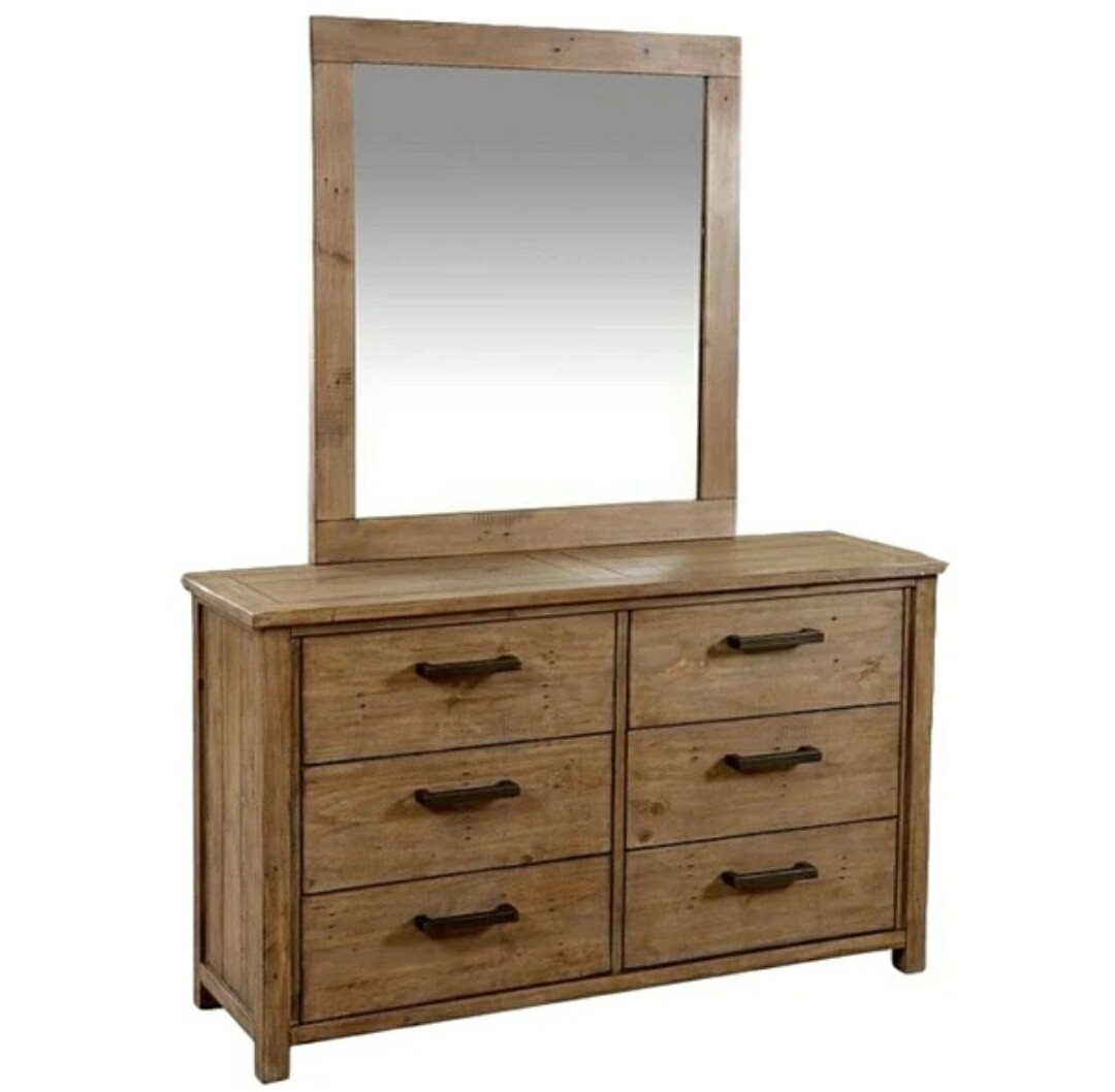 Driftwood 6 Drawer Duchess with Mirror