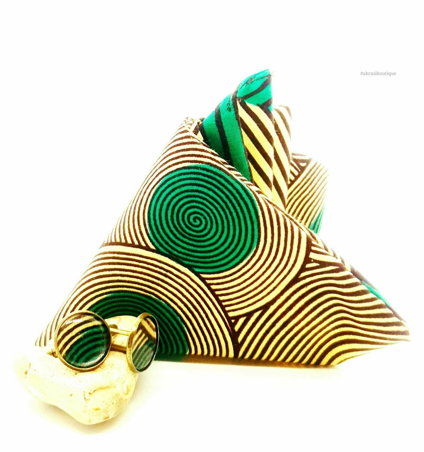 African print cream, green and brown pocket square with bronze cufflinks | men's accessories | Ankara pocket square