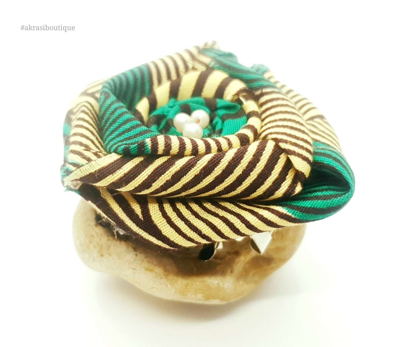 African wax green, cream and brown rose flower with pearl centre | flower pin | flower hair clip | flower brooch | clothing accessories