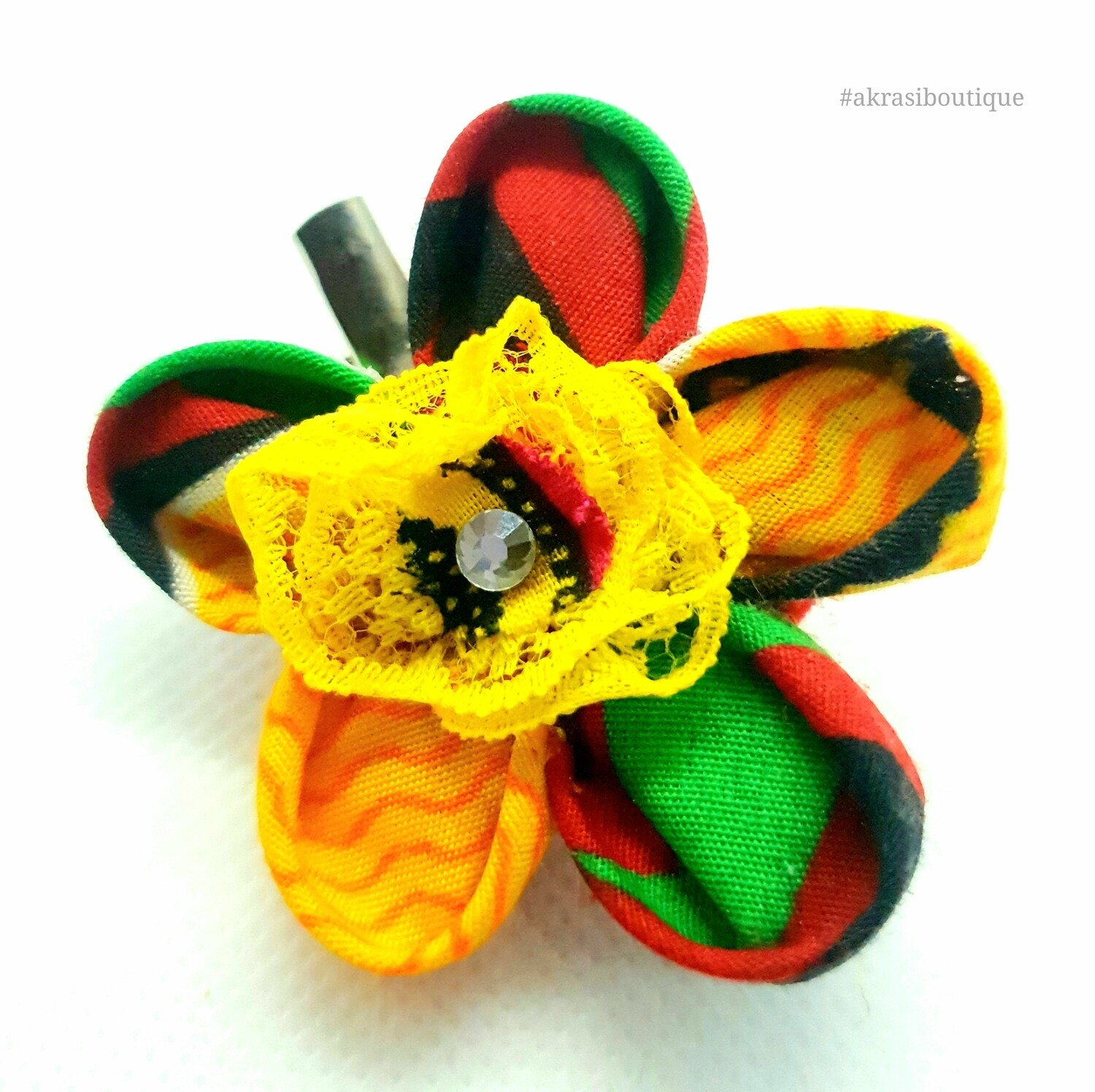 Kanzashi style flower pin with gemstone in Kente print   flower hair clip   flower brooch   clothing accessories