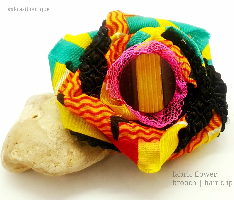 African wax print flower with button centre | kente fabric flower | flower pin | flower hair clip | flower brooch | clothing accessories