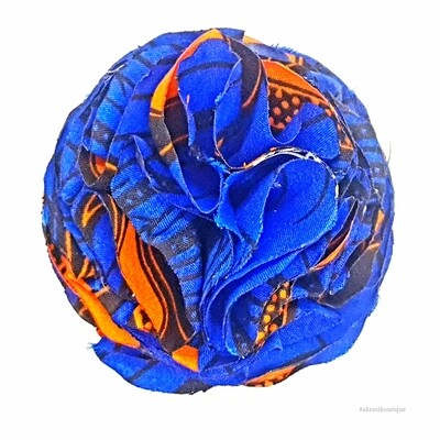 African print blue and orange ruffle flower | flower pin | flower hair clip | flower brooch | clothing accessories