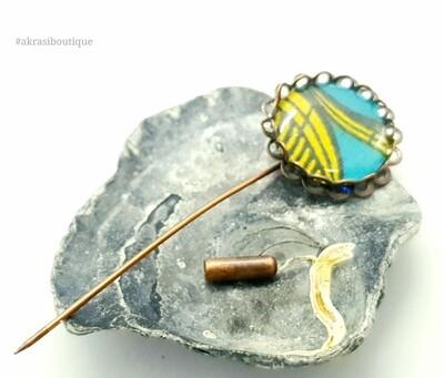 African detail lapel pin   ankara scarf pin   hat pin
