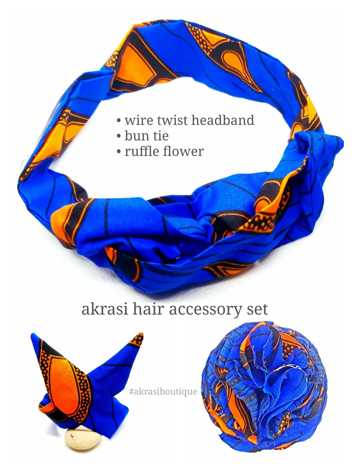 African print blue and orange hair accessory set includes wire hair tie, wire bun tie and flower brooch | hair clip