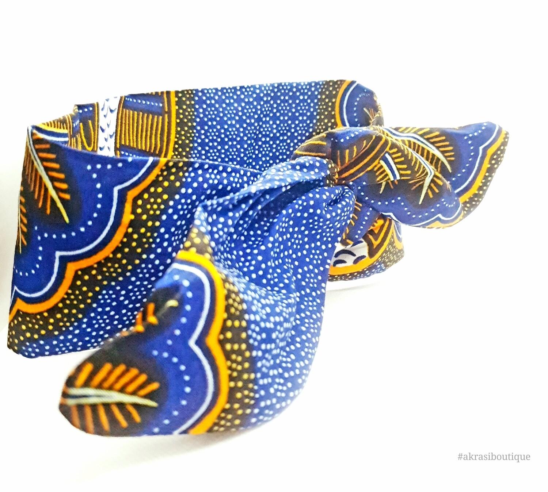 African print blue, orange and white wire hair tie | hair wrap | wire headband | African print headwrap | Ankara print | twisted hair tie