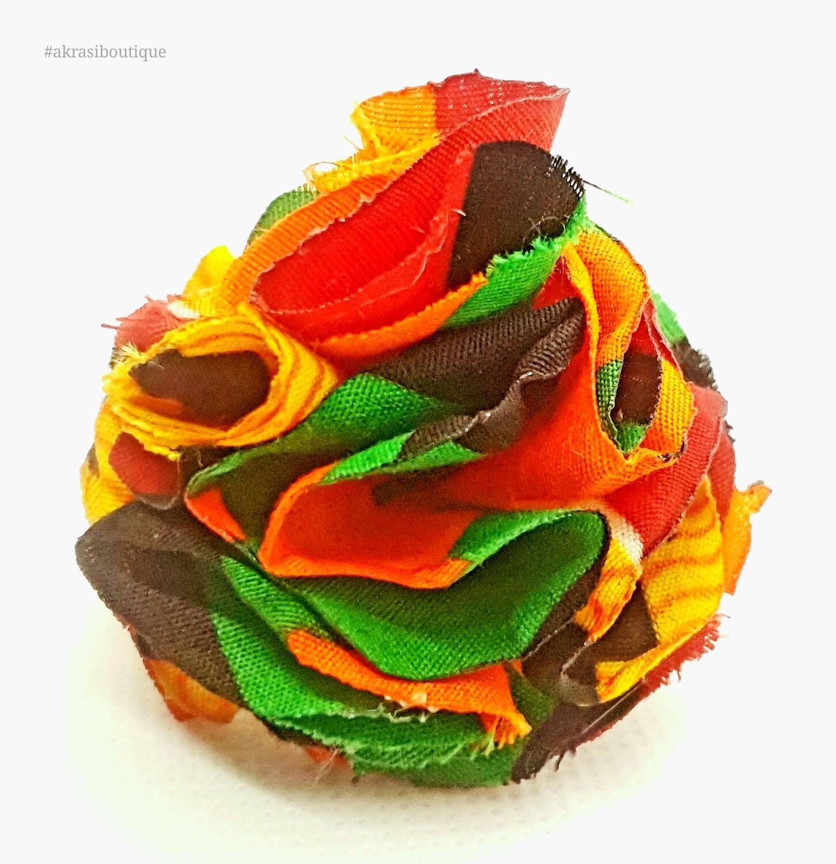 African print carnation ruffle flower | Kente flower | flower pin | flower hair clip | flower brooch | clothing accessories