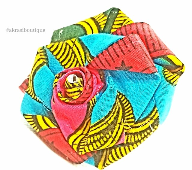 African print fabric rose flower with gemstone centre   flower pin   flower hair clip   flower brooch   clothing accessories