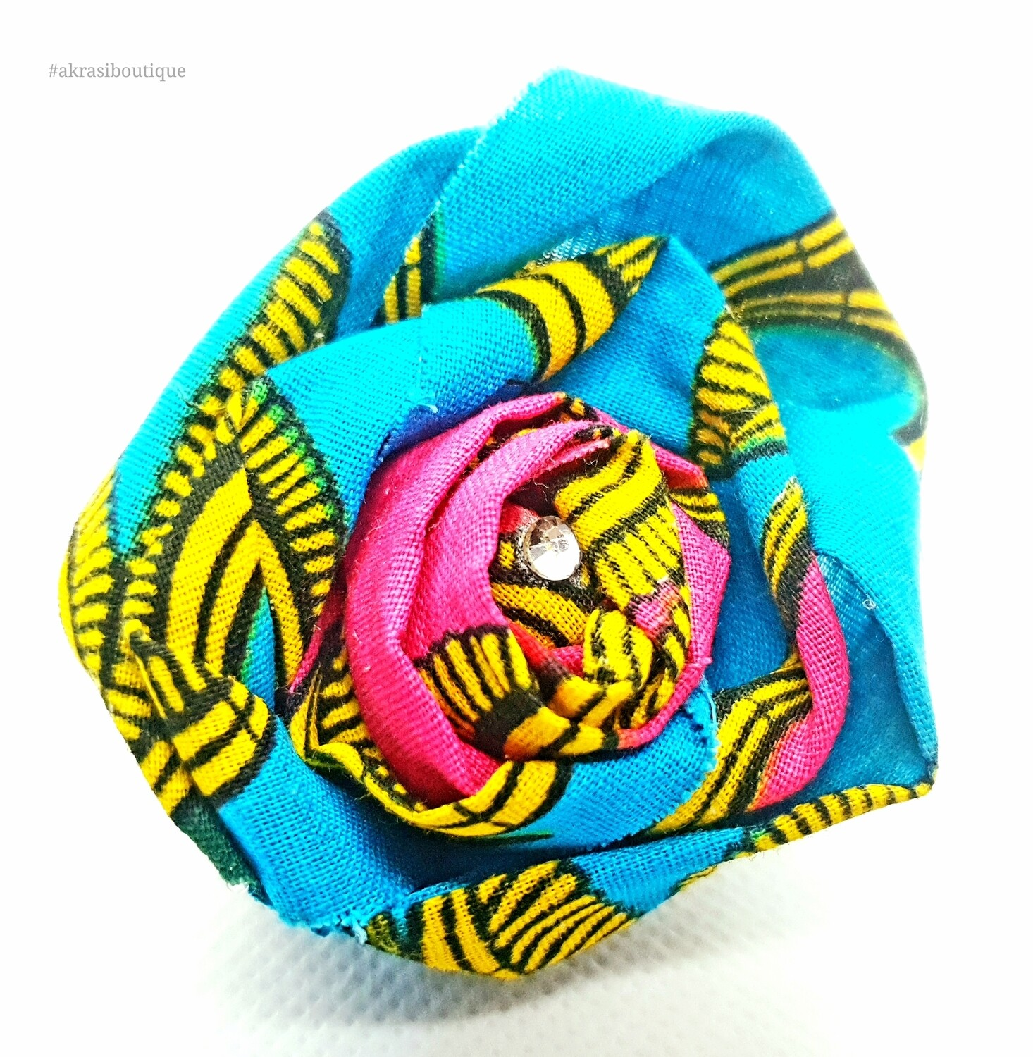 African print fabric rose flower with gemstone centre | flower pin | flower hair clip | flower brooch | clothing accessories