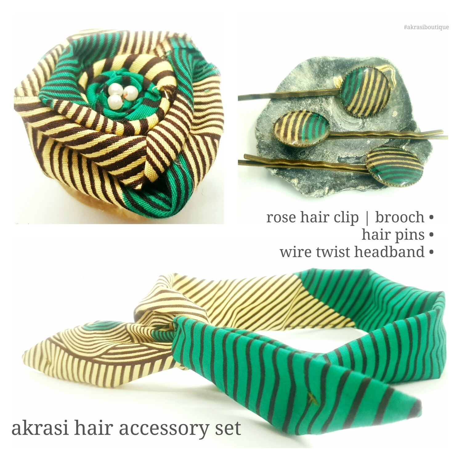 African print green, cream and brown hair accessory set includes wire hair tie, hair pins and flower brooch   hair clip