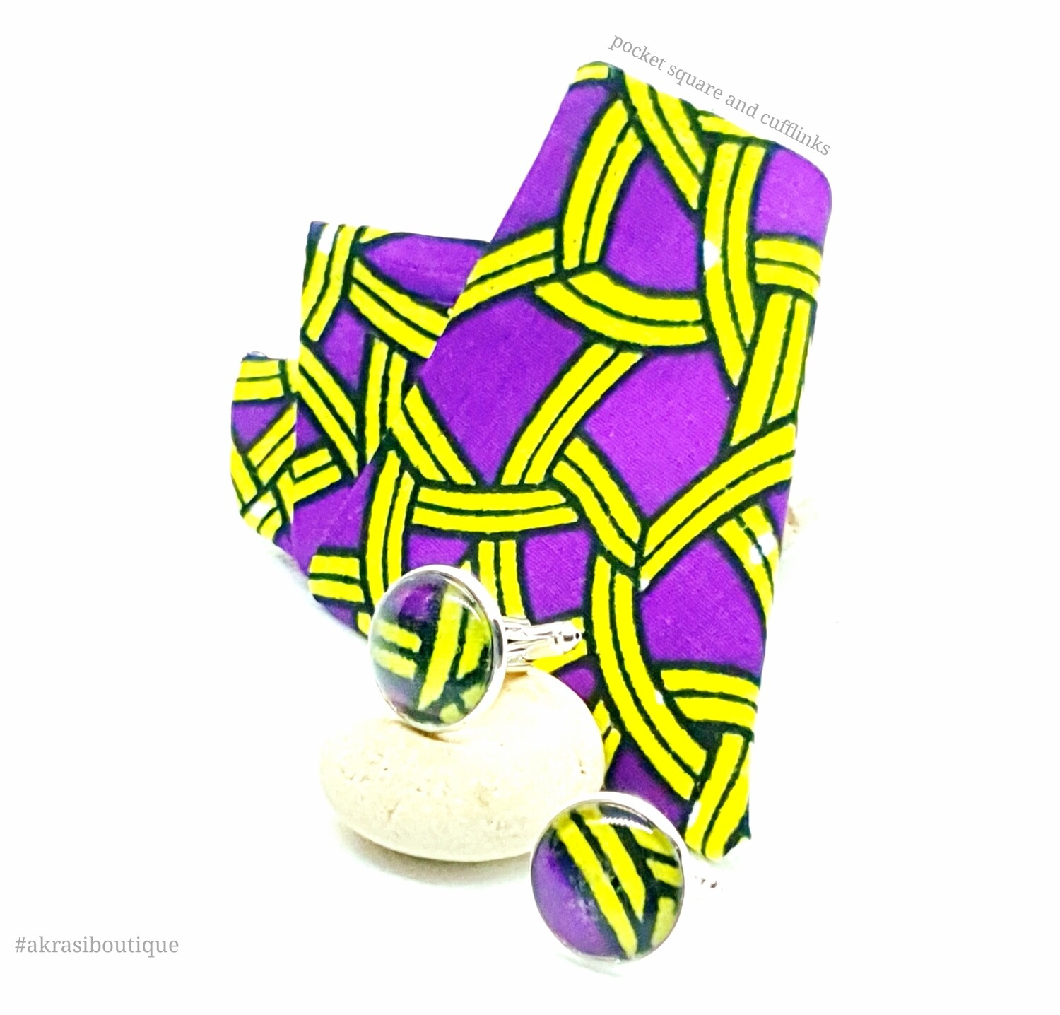 African print purple and yellow pocket square with cufflinks | men's accessories | Ankara pocket square