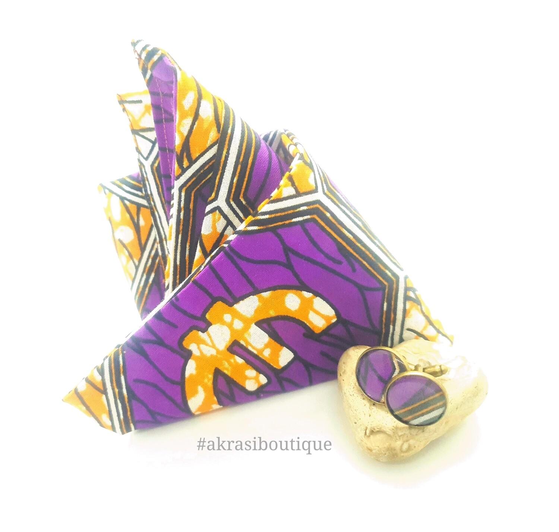 African print purple, orange and white pocket square with bronze cufflinks   men's accessories   Ankara pocket square