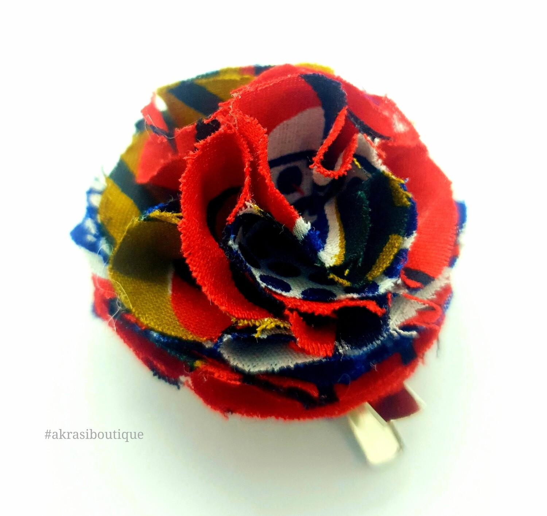 African print ruffle flower | carnation pin | flower hair clip | flower brooch | clothing accessories