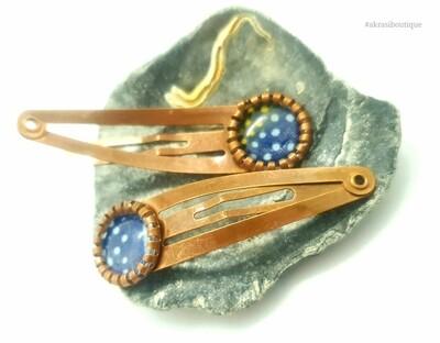 African wax blue detail snap clip in copper | Ankara hair clip | hair accessories