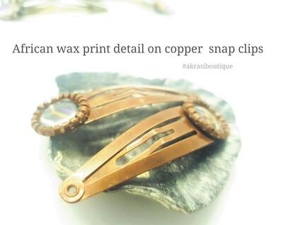 African wax ankara detail snap clip in copper | Ankara hair clip | hair accessories