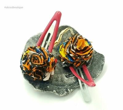 African wax dashiki print ruffle flower snap clips in hot pink | Ankara hair clip | hair accessories
