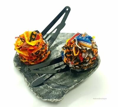 African wax dashiki print ruffle flower snap clips | Ankara hair clip | hair accessories | transition hair