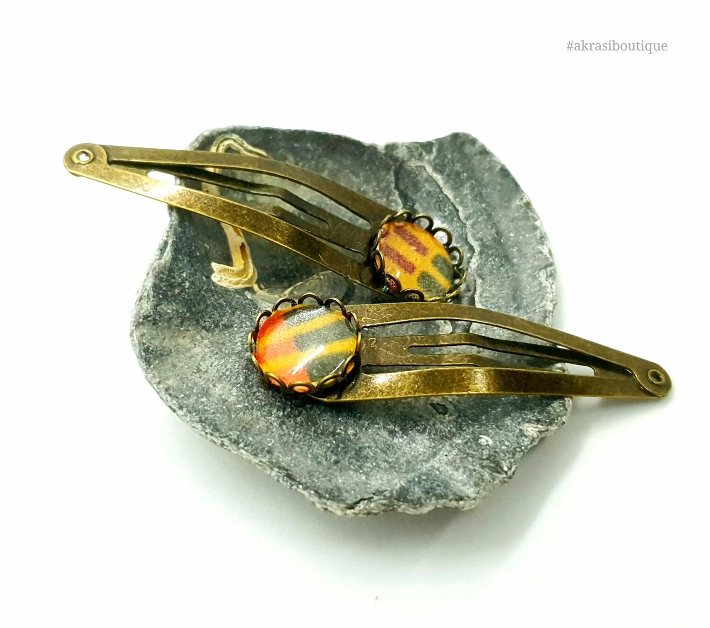 African wax kente detail snap clip in bronze   Ankara hair clip   hair accessories