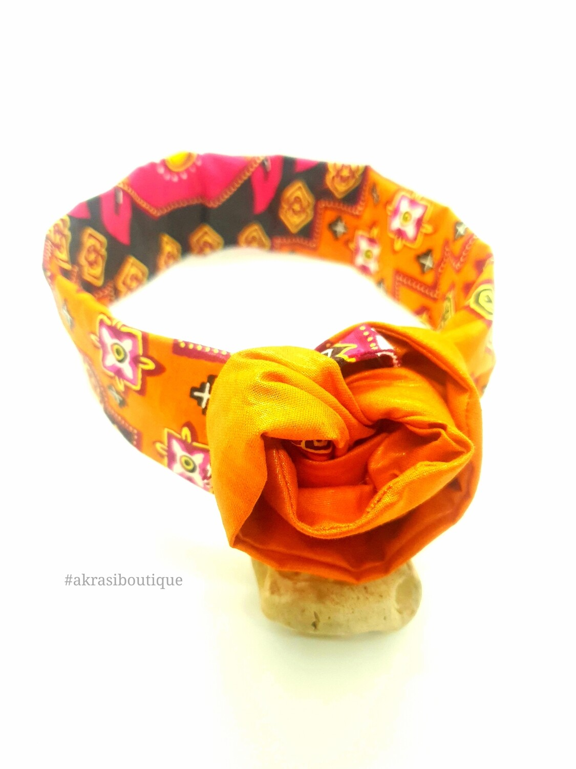 African wax print burnt orange, red and yellow wire twist hair wrap | African print wire hair tie | Ankara print headtie | headwrap