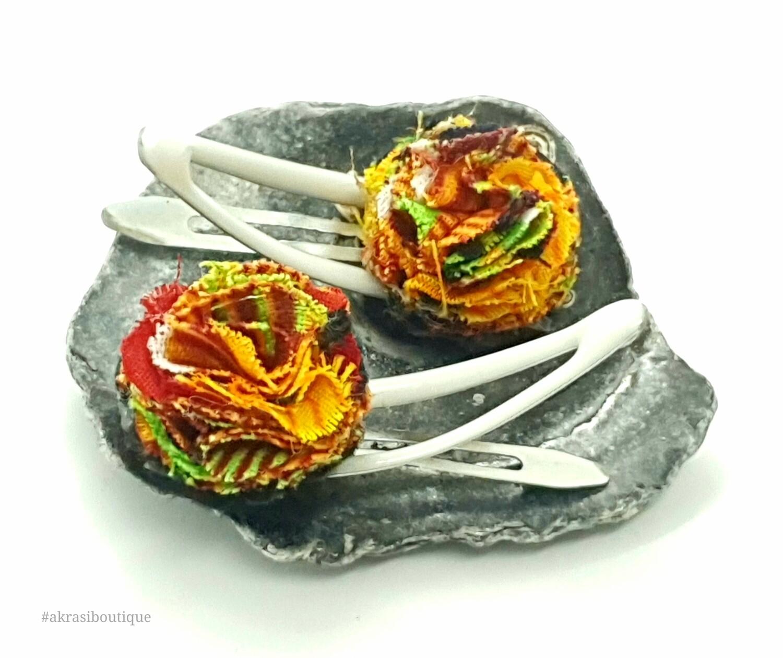 African wax kente print ruffle flower snap clips | Ankara hair clip | hair accessories