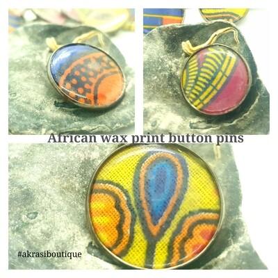 African wax print button pins   Ankara button pin   Kente pin   Dashiki badge