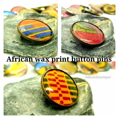African wax print button pins   Ankara button badge   Kente pin